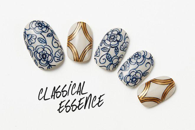 ダマスク柄やゴブラン織りなどに代表される、今シーズンのトレンド「ゴシックムード」。クラシカルなエッセンスをモダンに昇華したトレンドネイルを、繊細な筆づかいとグラフィックの美しさで注目を集めるKAYOさんが提案してくれた。