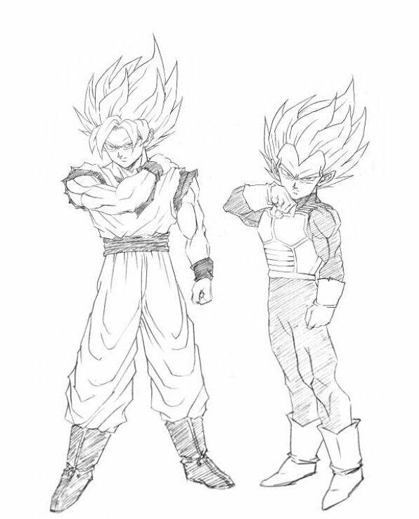 Boceto De Goku Y Vegeta Dragon Ball Z Super Dbz