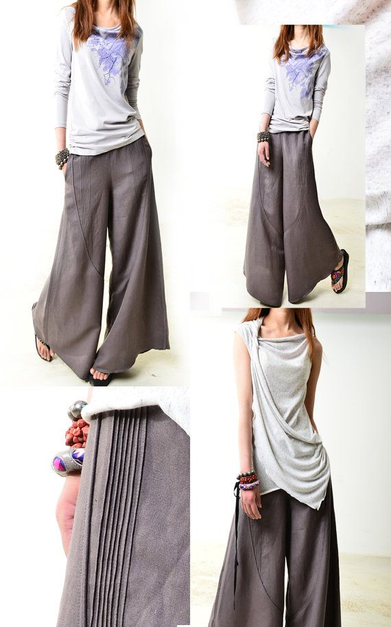 pin tucks and soft cording for seam emphasis...  Moon forgot - linen skirt pants (K1206b)
