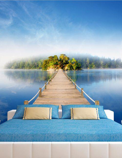 Carta da Parati Ponte verso l'Isola Carta da Parati Fotomurale Tema Paesaggi