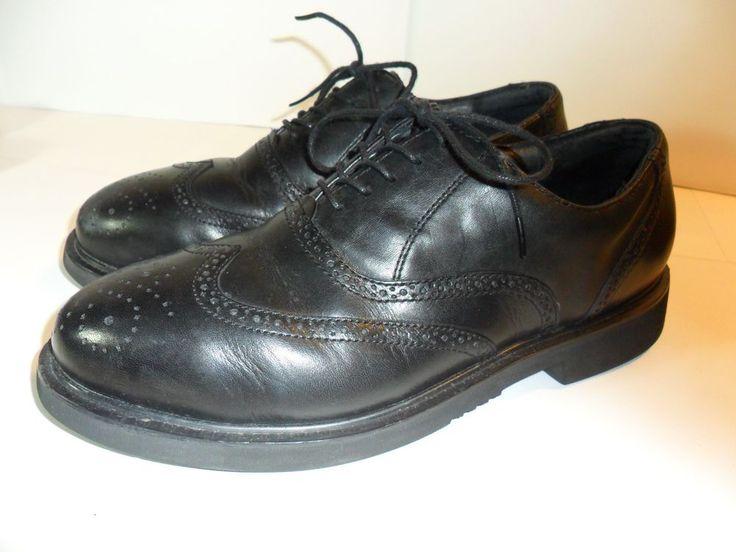 Men's Florsheim Black Leather STEEL TOE Dress Shoes Wing Tip Oxfords Sz- 8.5  W #Florsheim #WorkSafety