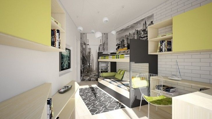 Kid Room, Gray Twin Bed With Stainless Steel Ladder Chair Wooden Desk Floating Bookcase With Sliding Door White Tile Wall Round Pendant Lamp City Wall Art Colorful And Sleeping Bed ~ Playful Kid Room Color Schemes Enlivening a Childish Interior Comfort
