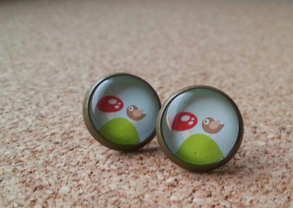 Vogel oorbellen bronzen oorbellen klein cadeau glas door NiteOwl15