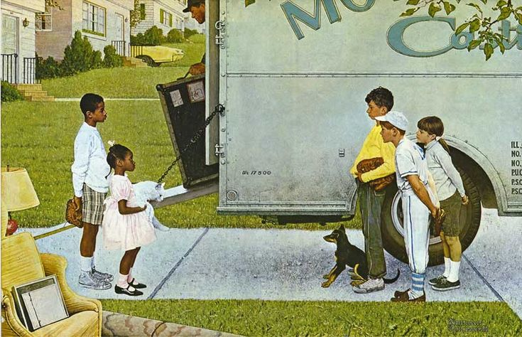 Moving Day (New Kids in the Neighborhood) 1967 Moving In  Norman Rockwell, Look magazine