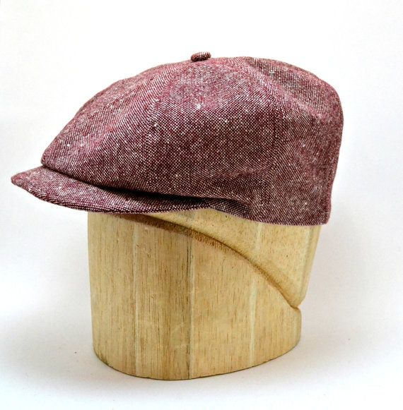 Men's Newsboy Cap in Vintage Red Tweed  Newsboy by HatsWithAPast, $75.00