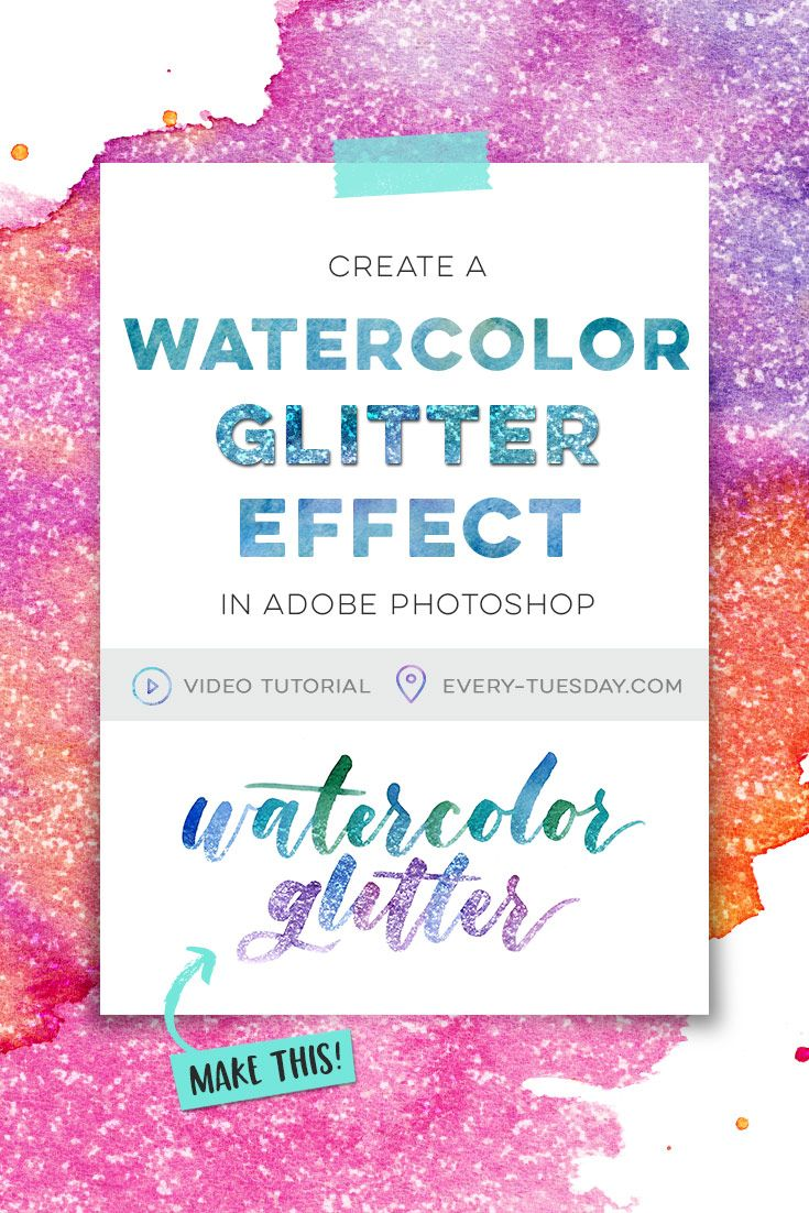 Create a watercolor glitter effect in Adobe Photoshop | video tutorial: every-tuesday.com via @teelac