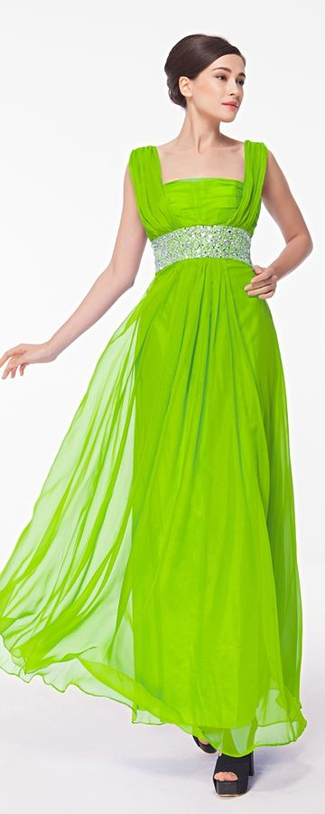 Lime green prom dress with hand sewn crystals chiffon prom dress with straps long prom gowns square neckline