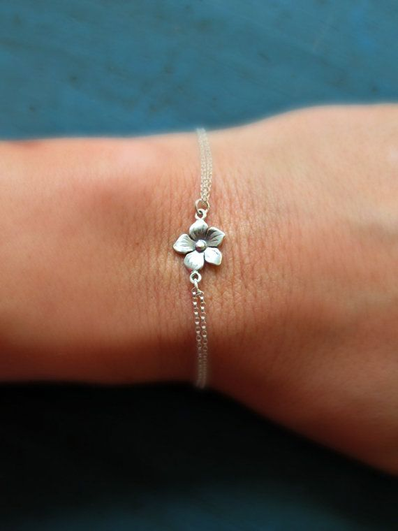 Flower Bracelet Larger Flower Sterling Silver Little girl gift flower girl gift on Etsy, $18.50