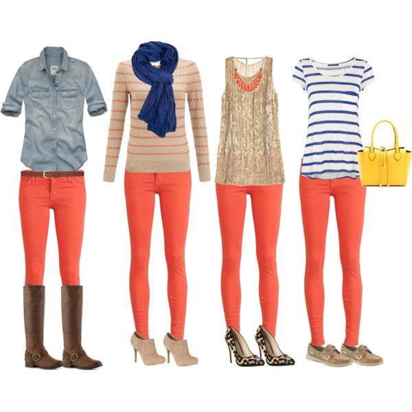 Coral Skinnies...love the blue stripes outfit!