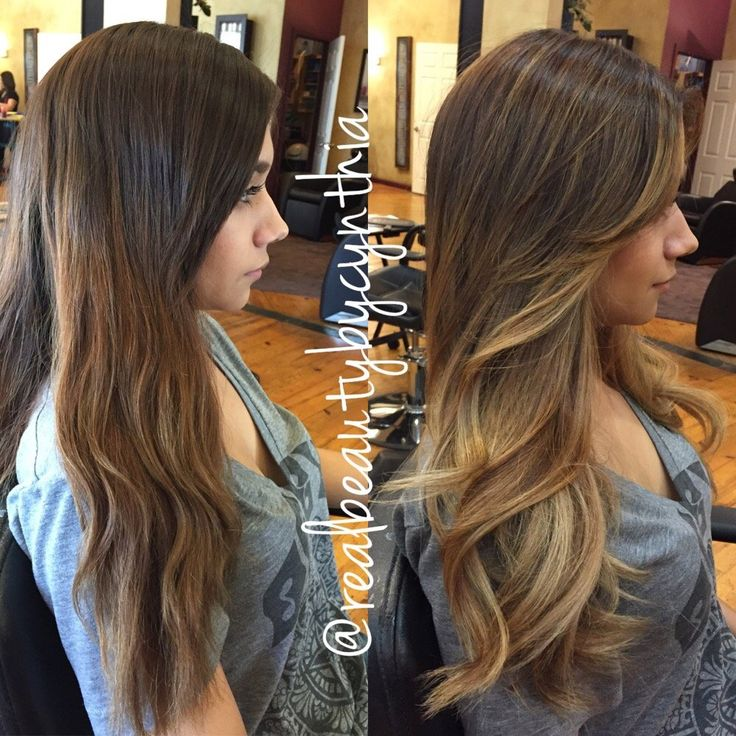 Before and after a balayage ombré highlight with face framing