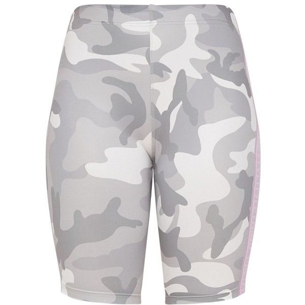 Khaki Camo Cycling Shorts ($28) ❤ liked on Polyvore featuring activewear and activewear shorts