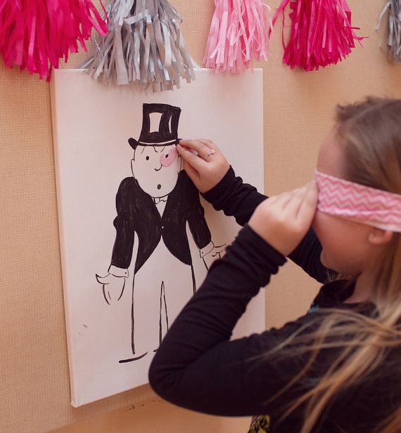 Pin the mustache on the Monopoly Man Must have Mustache party game! Hand painted on canvas only $15!