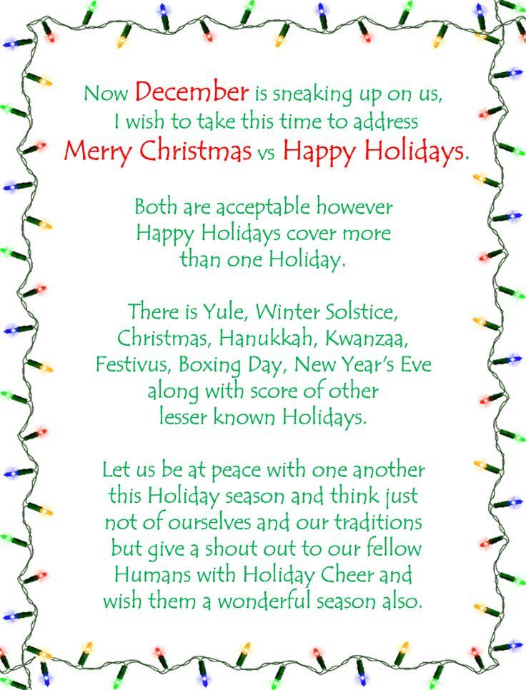 Merry Christmas Vs Happy Holidays Something I Wrote A Few