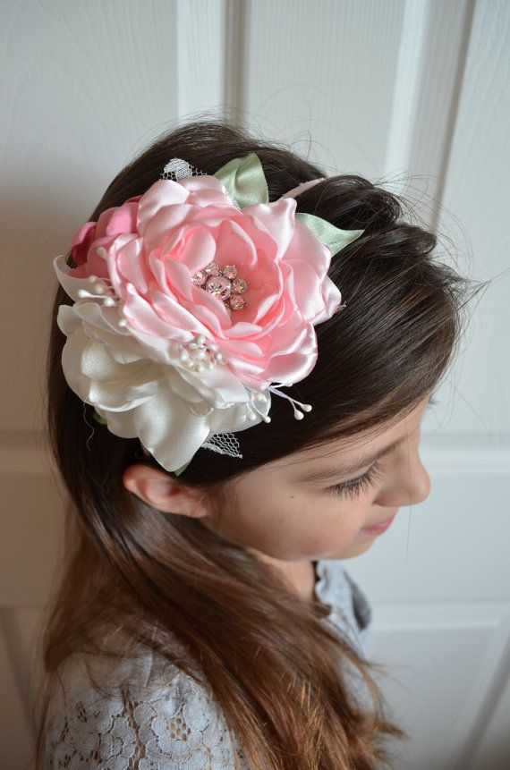 Hey, I found this really awesome Etsy listing at http://www.etsy.com/listing/75807957/pink-and-white-flowers-headband-the