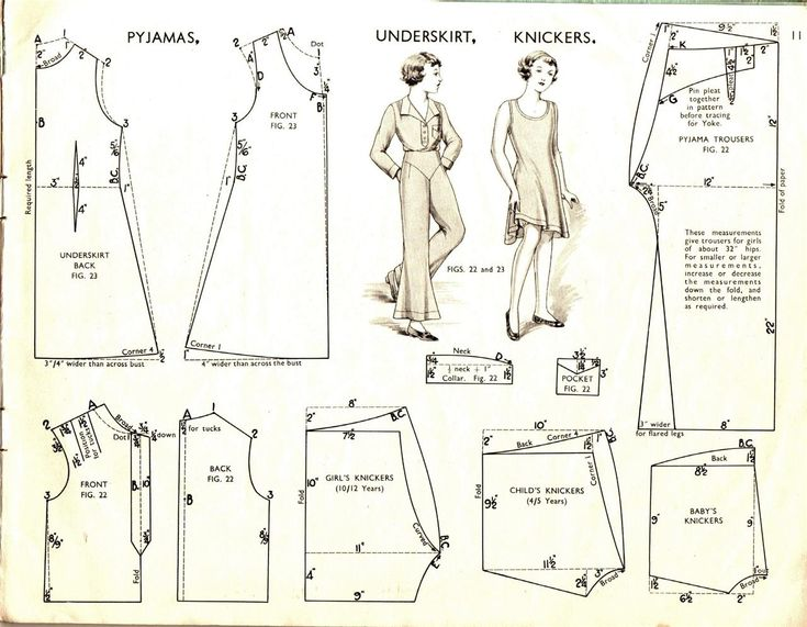 Pyjamas, underskirt, knickers Vintage Sewing Pattern