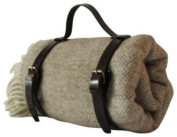 Llama Blanket in a Rustic Leather Harness Carrier - craftsman - bedding - Patron Design