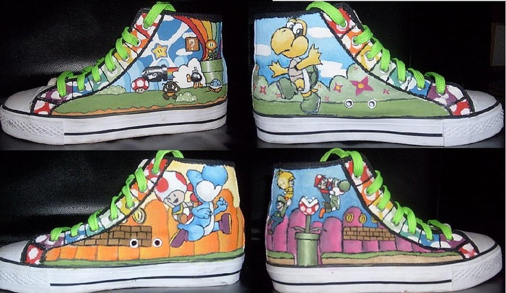 Makes me want to bust out my permanent markers and doodle on my shoes lol    You can find the original artist for these here:  http://tikipoesje.deviantart.com/art/Mario-Converse-179434131