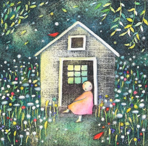 """Kristina Swarner, """"Green House"""".  Apparently green houses tend to attract red birds.  Very, very darling red birds."""