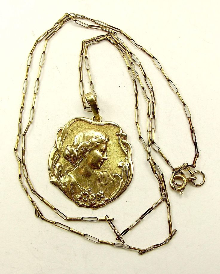 """Antique ART NOUVEAU 9ct Gold PENDANT Later 24"""" 9ct Gold Chain"""