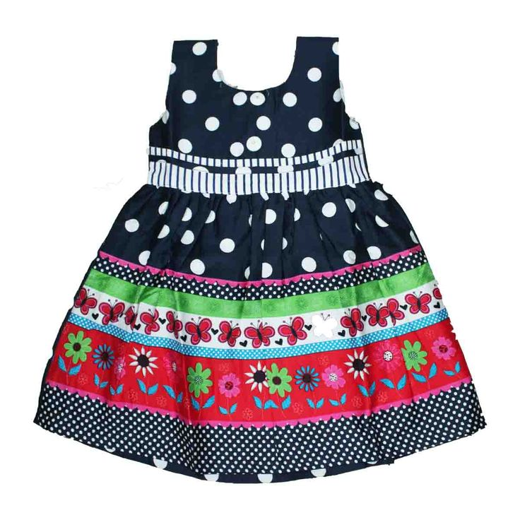 Colorful frock for 1 year - 3 year - Rs 425 - Free shipping all over India -   http://www.princenprincess.in/index.php/home/product/371/Dark%20blue%20cotton%20frock%20with%20white%20dots