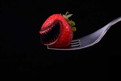 want to try some strawberry? Too bad this isn't the strawberry you found in market.  First find a picture of a fruit and a animal, cut out the part you want from the animal. Put it on top of the fruit. lighten the animal part and it done