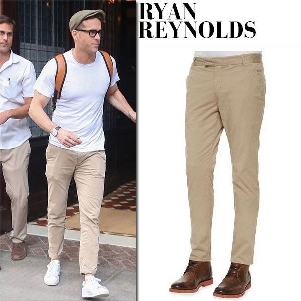 Ryan Reynolds in white t-shirt and chinos