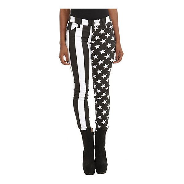 Royal Bones By Tripp American Flag Split Leg Skinny Jeans Hot Topic ($35) ❤ liked on Polyvore featuring jeans, skinny jeans, white skinny jeans, tripp, tripp jeans and skinny fit jeans