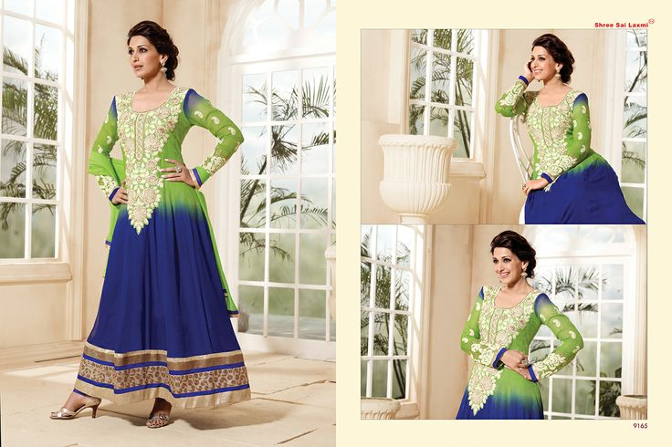 Stunningly Beautiful Green and Blue colored Georgette Anarkali with awesome Embroidery work en-crafted. Comes along with Matching Shantoon Bottom and Chiffon Duppatta finely Embroidered.