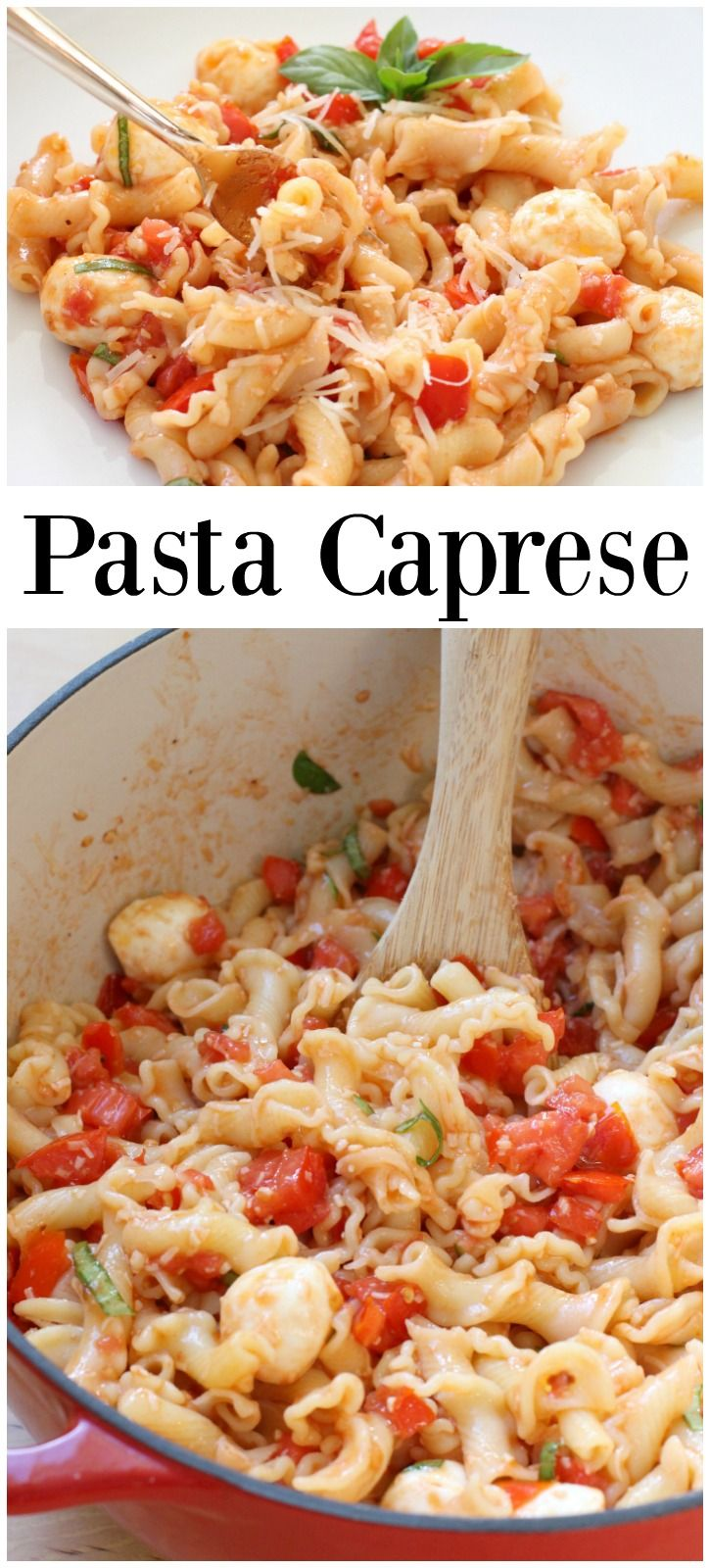 Pasta Caprese - made with fresh tomatoes, basil and mozzarella, then tossed with your choice of pasta. YUM. Butter With A Side of Bread