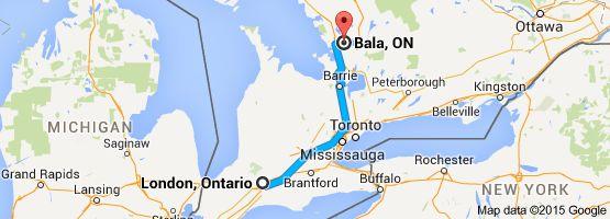Van: London, Ontario, Canada Naar: Bala, ON, Canada