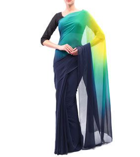 Navy Blue, Sky Blue & Yellow Georgette Zari Saree