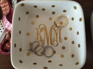 cute bowl with vinyl monogram for holding your jewelry