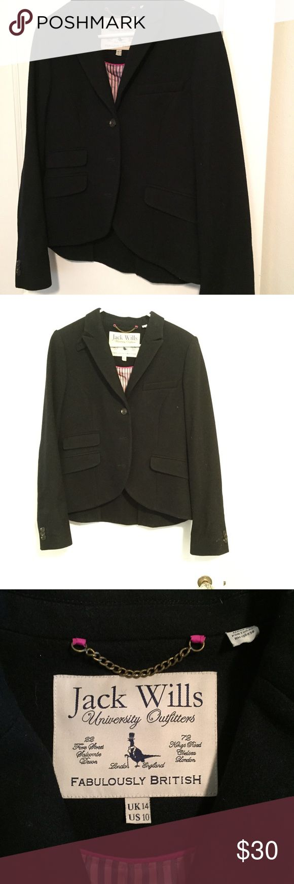 "Jack Wills black wool English jacket size 10 Jack Wills size 10 100% wool 38"" bust, 23"" sleeves, 26"" long pink striped lining.  Wear with jeans, a pencil skirt or a boho skirt. Even wear with your track pants!  A wardrobe staple and an I,portent part of your capsule wardrobe! Jack Wills Jackets & Coats Blazers"