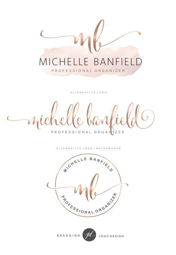 Aquarel Logo ontwerp Rose gouden Branding kit fotografie