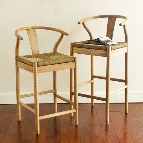 Danish Counter Seat: Wishbone Chair And Metal Stool