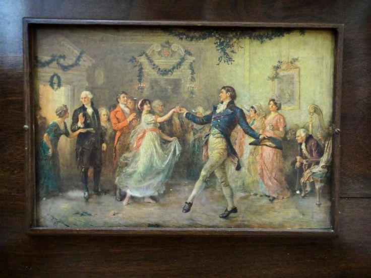 Antique Victorian Flatware Wood Box Chest Elegant Dancers Ballroom