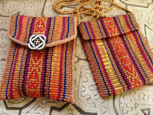 two reeled silk pouches backstrap weaving