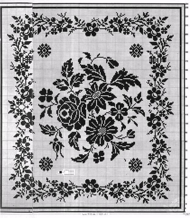 Filet Crochet Table Center - Summer Flowers
