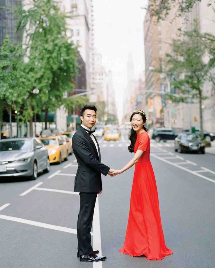 A Bold, Autumnal Wedding in NYC | Martha Stewart Weddings - And so, five years after graduation, the San Francisco–based couple (she's a designer; he's an investor) set out to create a work of art all their own—a wedding that included modern takes on contemporary Chinese, Korean, and baroque arts. They added unexpected details, like Glara's dazzling red gown, as focal points.