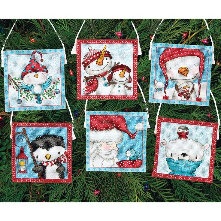 Dimensions Frosty Friends Ornaments Counted Cross Stitch Kit16 Count Set Of 6