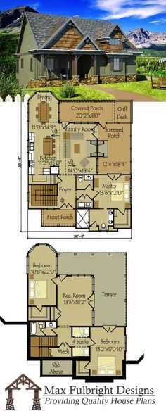 Rustic cottage house plan with open living floor plan.