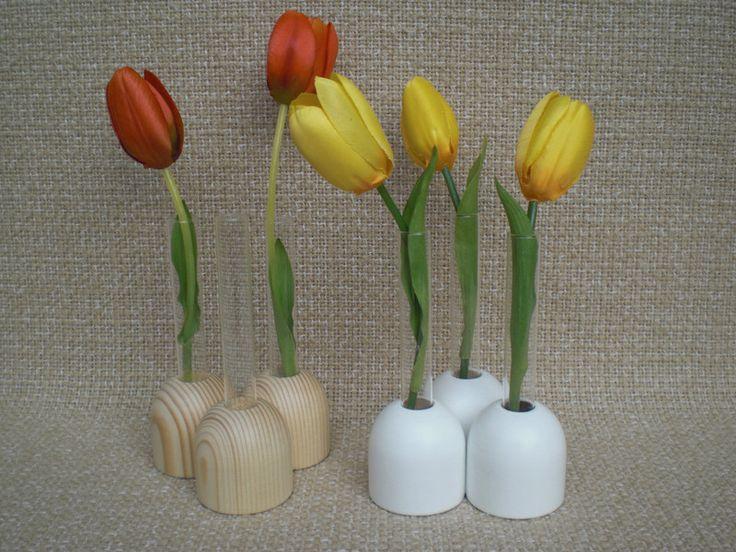 Vasen - Mini-Holzvasen gedrechselt, mit kl. Reagenzgläsern - ein Designerstück von Pfiffiges bei DaWanda