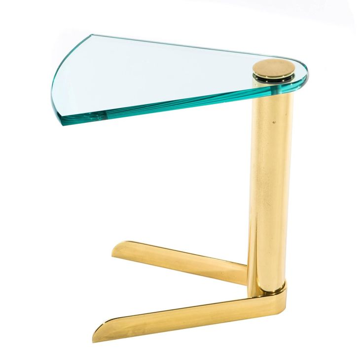 1970s Wedge-Shaped Occasional Table in Brass and Glass by Pace Furniture   From a unique collection of antique and modern end tables at https://www.1stdibs.com/furniture/tables/end-tables/