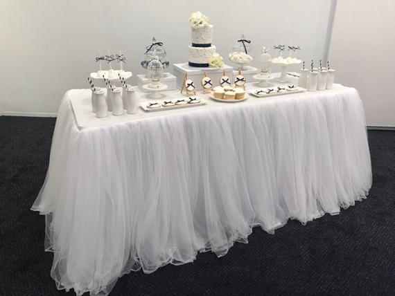 Blanc la jupe de Tulle Tutu nappe/Table de 6 pieds Table à