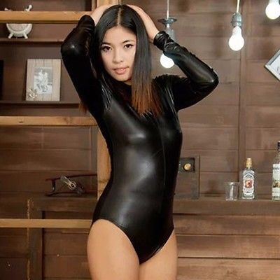 Woman Faux Leather Bodysuit Long-Sleeve Leotard Top Stretch Tight Hot Black New