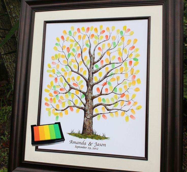 Small Fingerprint Live Oak Tree Wedding Guest Book Hand Drawn: 16 Best Images About Fingerprint Trees For Amanda On