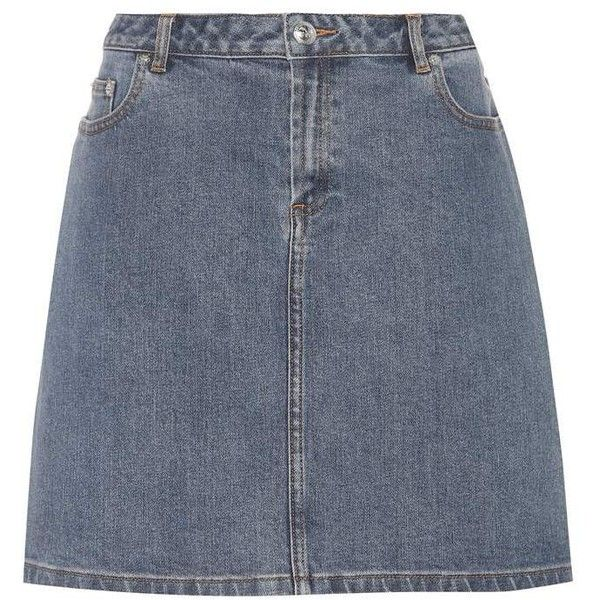 A.P.C. Standard Denim Skirt ($125) ❤ liked on Polyvore featuring skirts, blue, denim skirts, blue denim skirt, blue skirt and a.p.c skirts