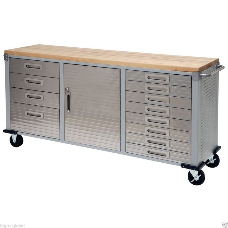 Butcher Block Workbench >> Garage Rolling Metal Steel Tool Box Storage Cabinet Wooden Workbench 12 Drawers | Workbenches ...
