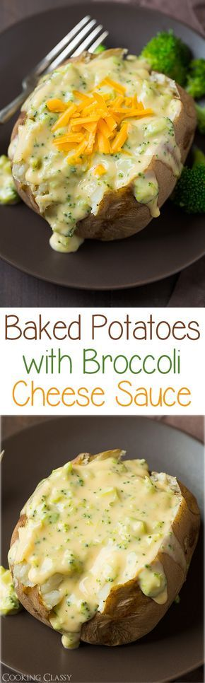Baked Potatoes with Broccoli Cheese Sauce - this sauce is so easy to make (there's a slow cooker baked potato recipe too) and it's so good you'll want to just eat it by the spoonful! It's perfectly thick and creamy for potatoes.