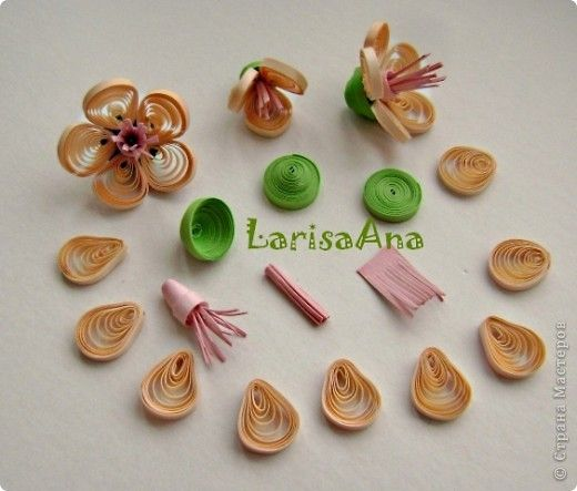 Painting mural drawing Workshop Paper Quilling Flowering peach stripes photo 7